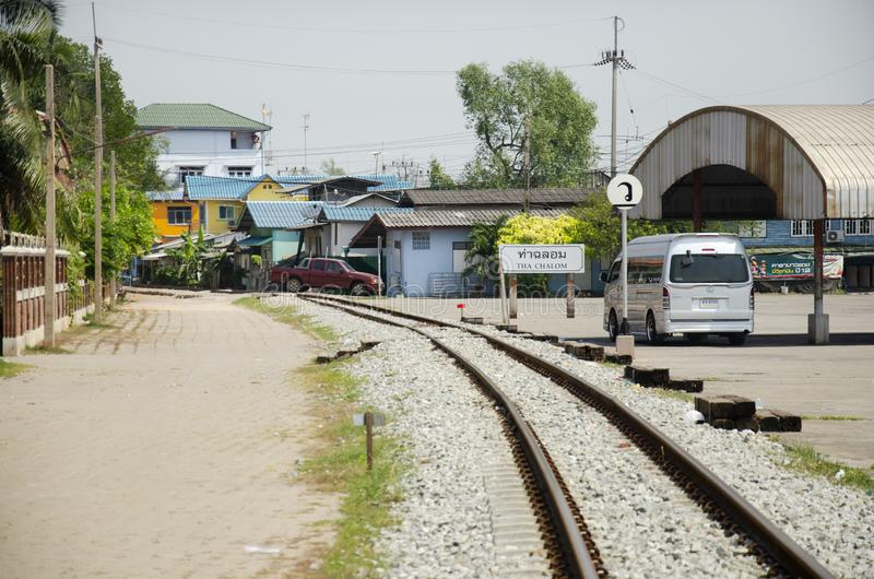 Railroad tracks and railway track tie sleeper for train running in Tha Chalom station at Mahachai in Samut Sakhon, Thailand. SAMUTSAKHON, THAILAND - JANUARY 31 stock images
