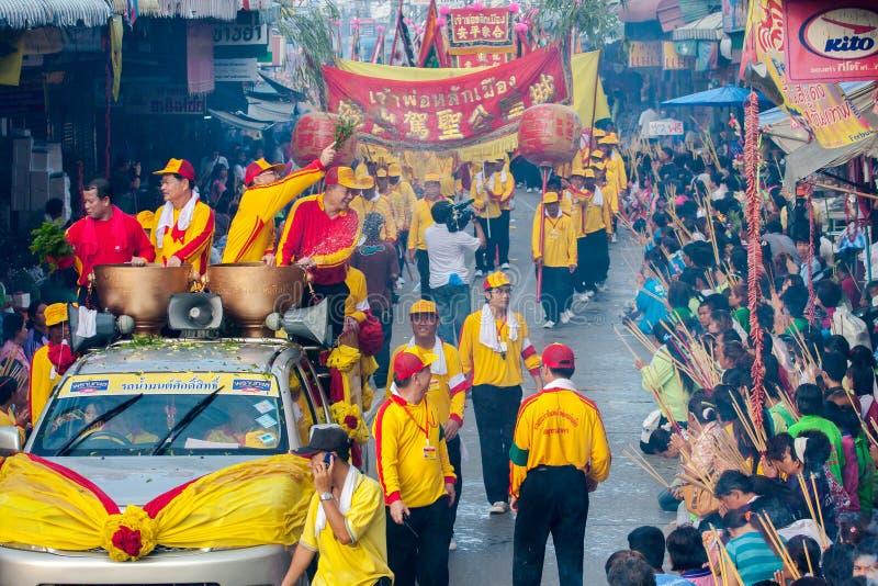 SAMUTSAKHON, THAILAND: 31 MEI: Gouden draak en Leeuw die r doen royalty-vrije stock fotografie
