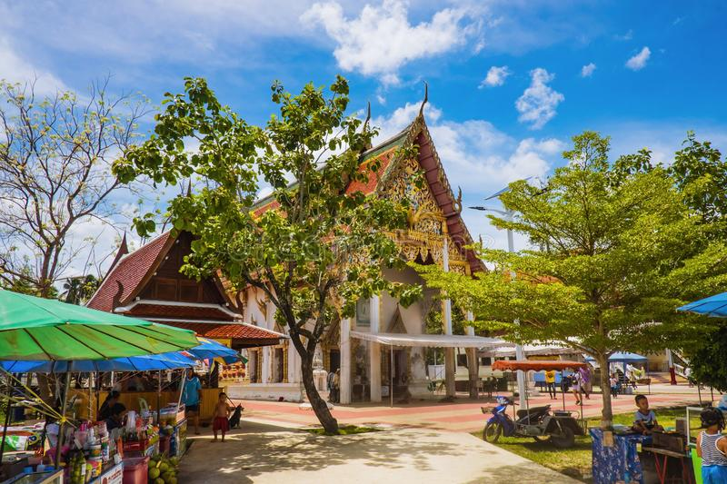 Stalls of Unacquainted Thai local people at Wat Thong Khung Temple at Samut Songkhram Thailand stock image