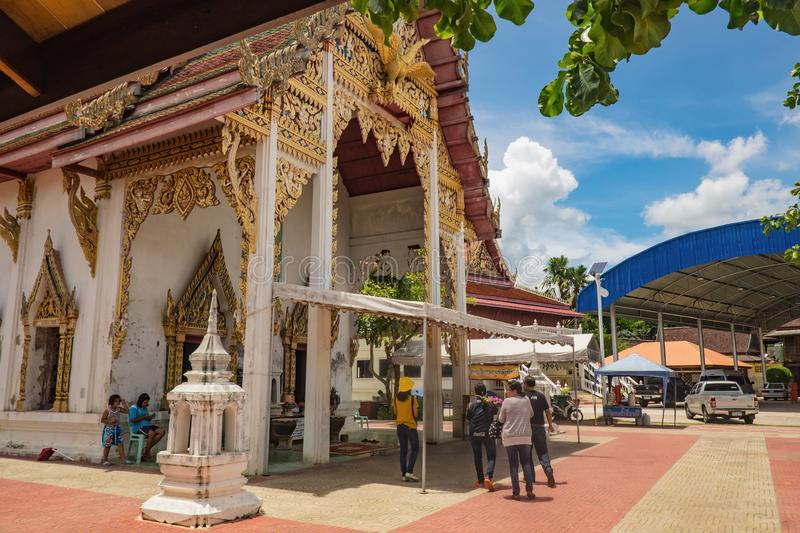 Unacquainted Thai people and tourists come to visit Wat Thong Khung Temple stock images