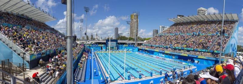 2018 samväldesspelen som simmar panorama fotografering för bildbyråer