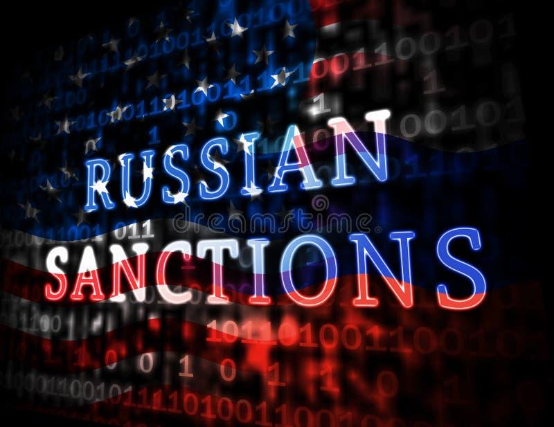 Sanções de Rússia do trunfo que depositam o embargo na Federação Russa - ilustração 3d ilustração stock