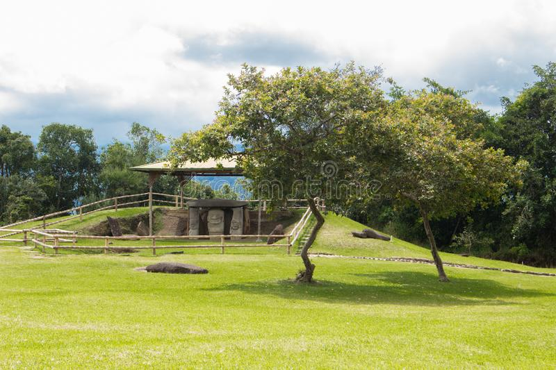 San Agustin Archeological park, Huilla, Colombia. Unesco world heritage stock image