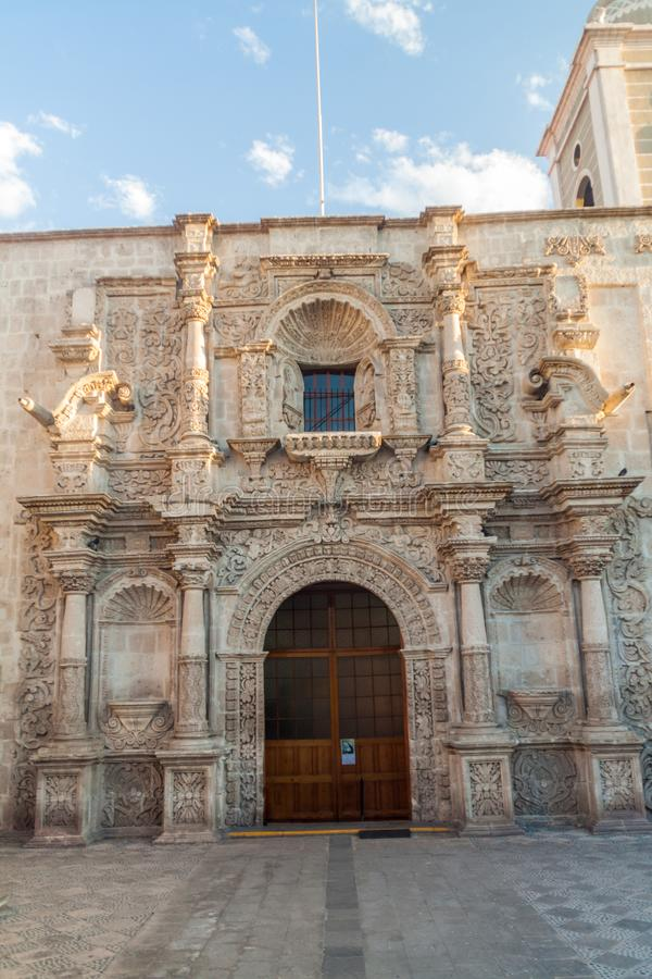 San Agustin kyrka i Arequipa, Peru royaltyfri fotografi