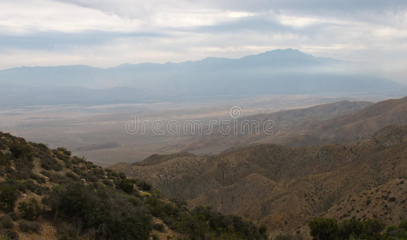 The San Andreas Fault. From an overlook in Joshua Tree National Park, you can see a sweeping view of this famous earthquake fault in California royalty free stock photography