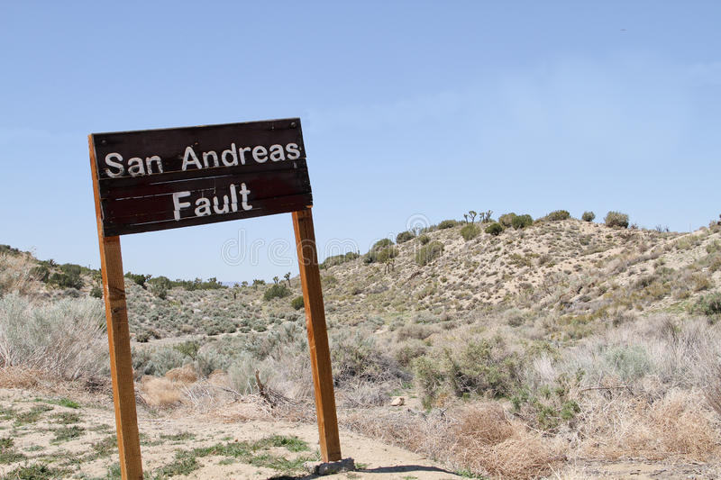 San Andreas Fault Sign. In Southern California stock photos