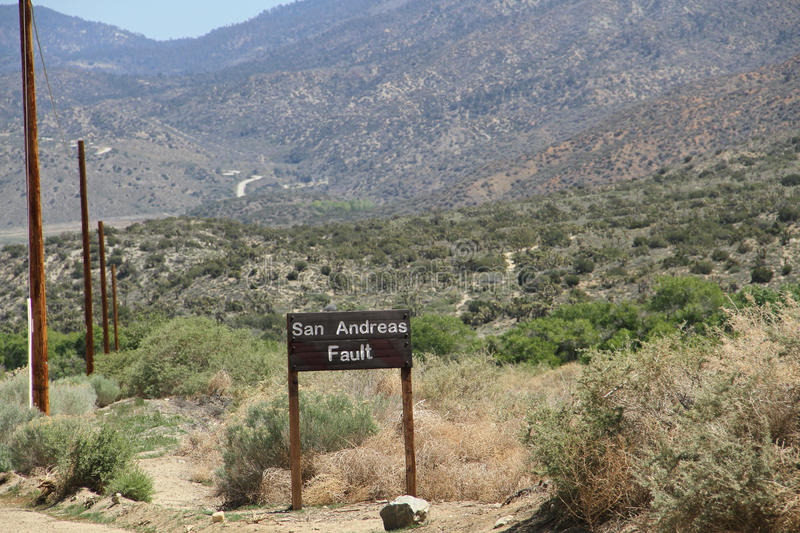 San Andreas Fault Sign. In Southern California royalty free stock photo