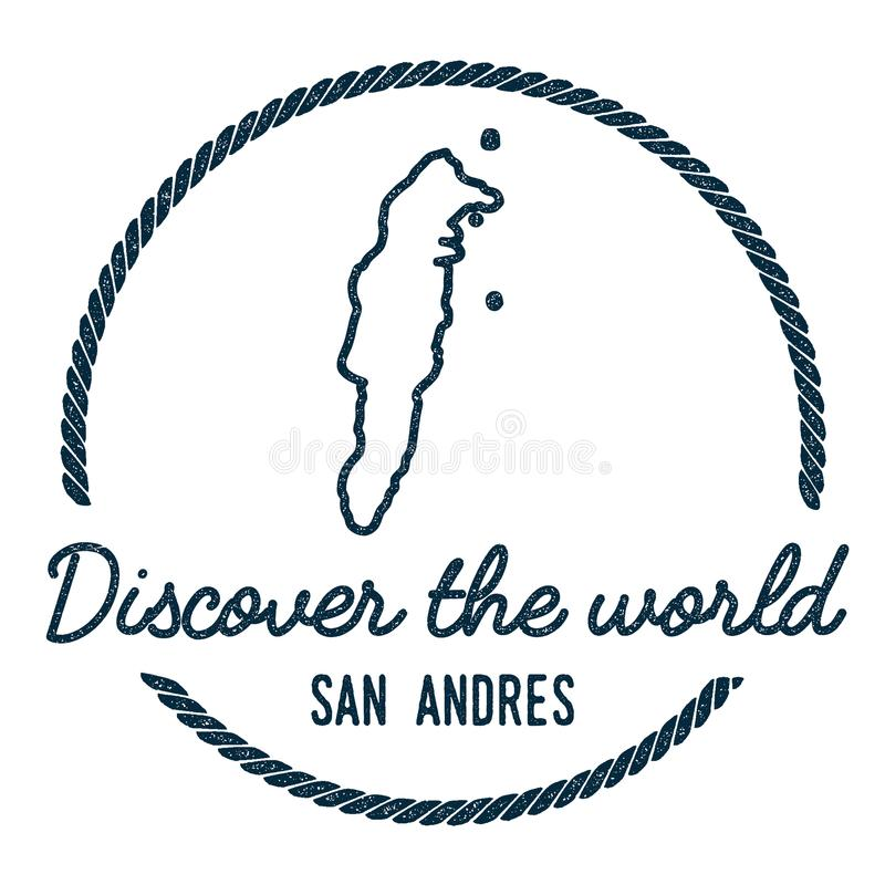 San Andres Map Outline El vintage descubre libre illustration