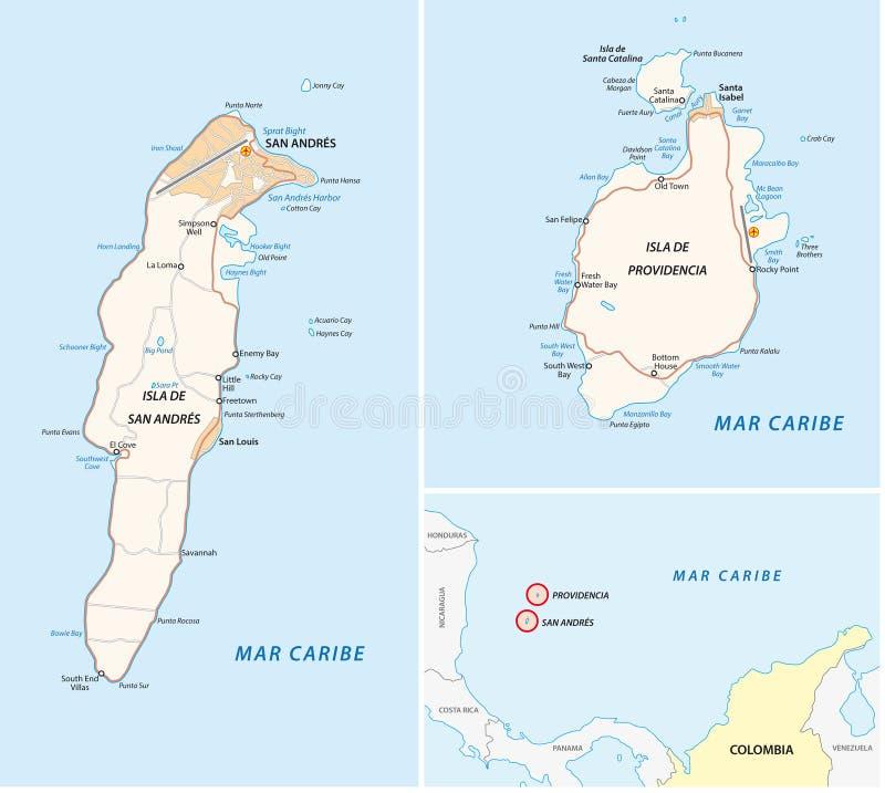 San Andres, Providencia y mapa de camino de santa Catalina ilustración del vector