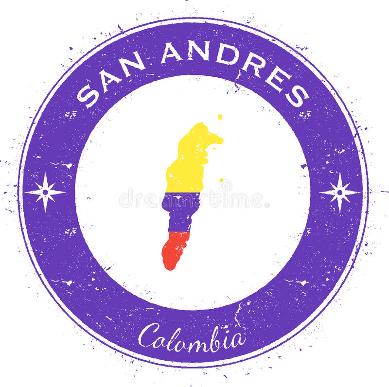 San Andres runt patriotiskt emblem royaltyfri illustrationer