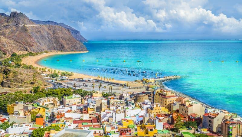 San Andres village and Las Teresitas beach, Tenerife. View of San Andres village and Las Teresitas beach, Tenerife, Canary Islands, Spain royalty free stock photos