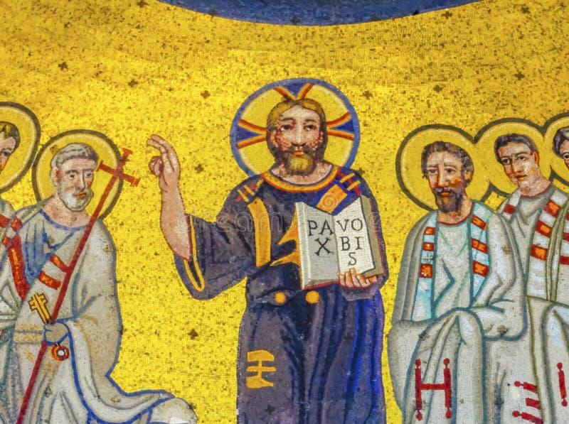 San antico John Lateran Rome Italy di Jesus Mosaic Triclinium Leoninum Outside fotografia stock libera da diritti