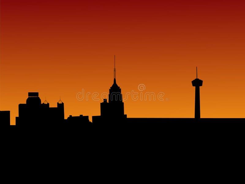San Antonio bij zonsondergang royalty-vrije illustratie