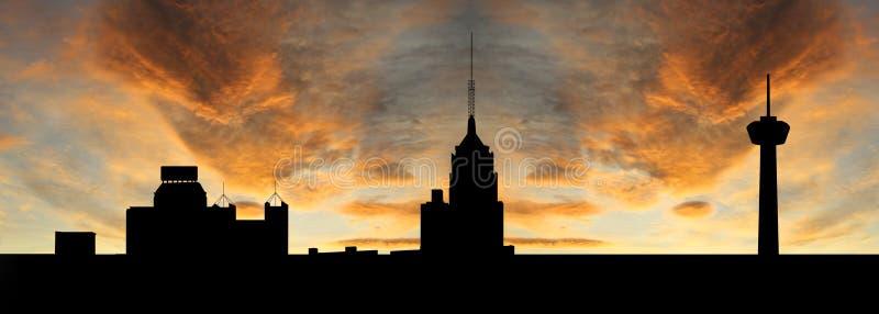 San Antonio en la puesta del sol stock de ilustración