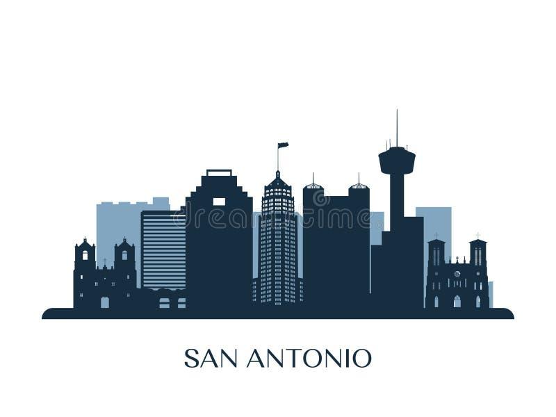 San Antonio linia horyzontu, monochromatyczna sylwetka ilustracja wektor
