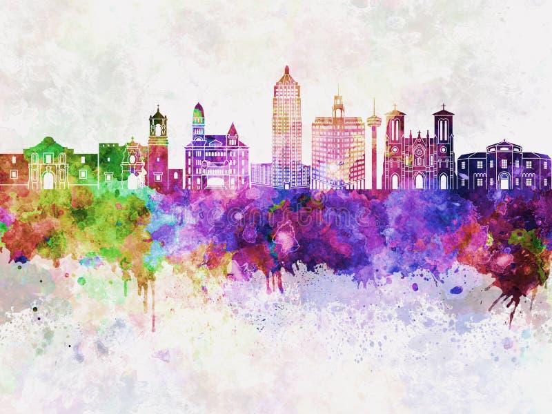 San Antonio linia horyzontu w wb ilustracja wektor