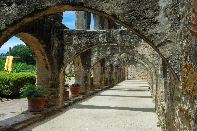 San Antonio Mission San Jose arches stock image