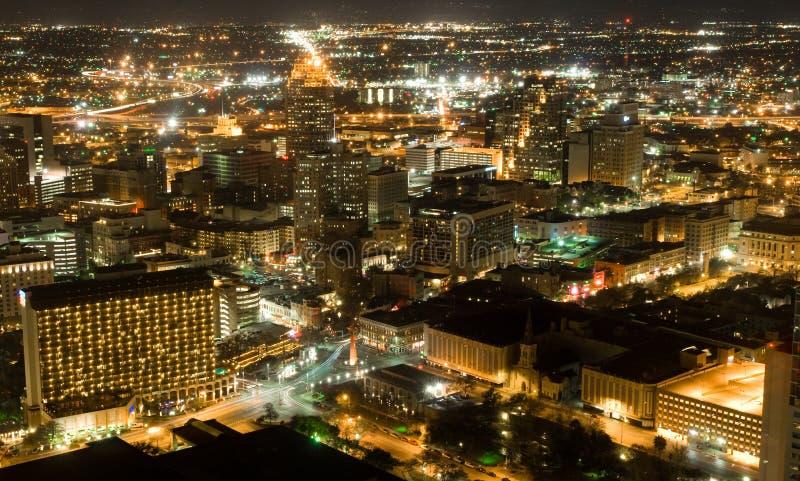 San Antonio Nights Ariel royalty free stock images