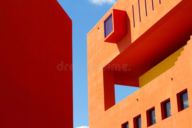 San Antonio Public Library. The San Antonio Public Library, designed by the Mexican architect Ricardo Legorreta and painted in a classic enchilada red color, is stock image