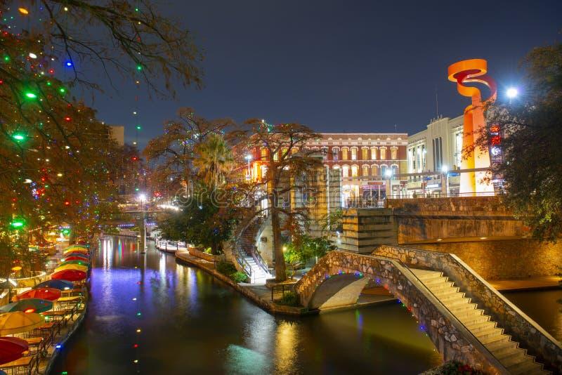 San Antonio River Walk la nuit, le Texas, Etats-Unis photos libres de droits