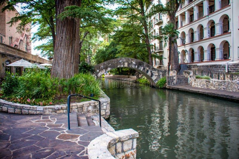 San Antonio Riverwalk Arch Bridge fotografia de stock royalty free