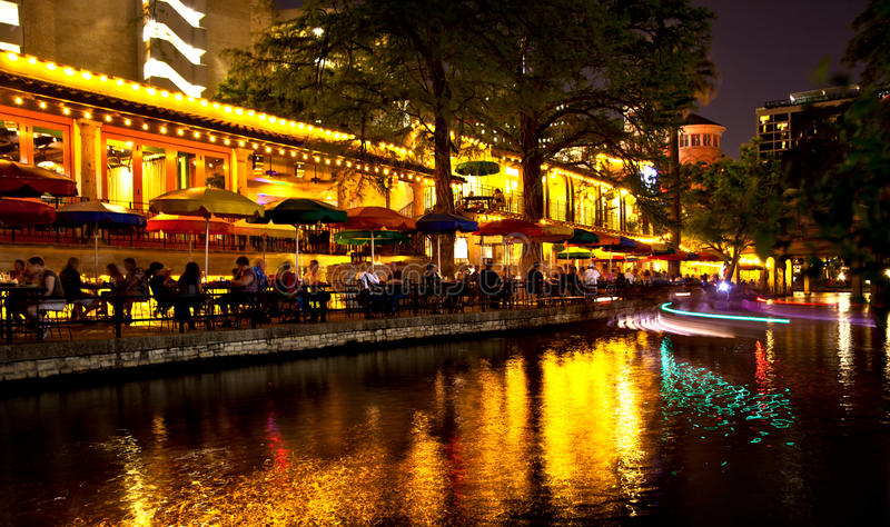 San Antonio Riverwalk at night stock photography