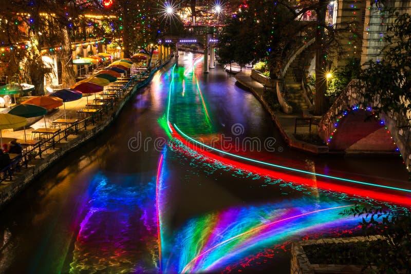 San Antonio Riverwalk at night Christmas time with some skyline. stock image