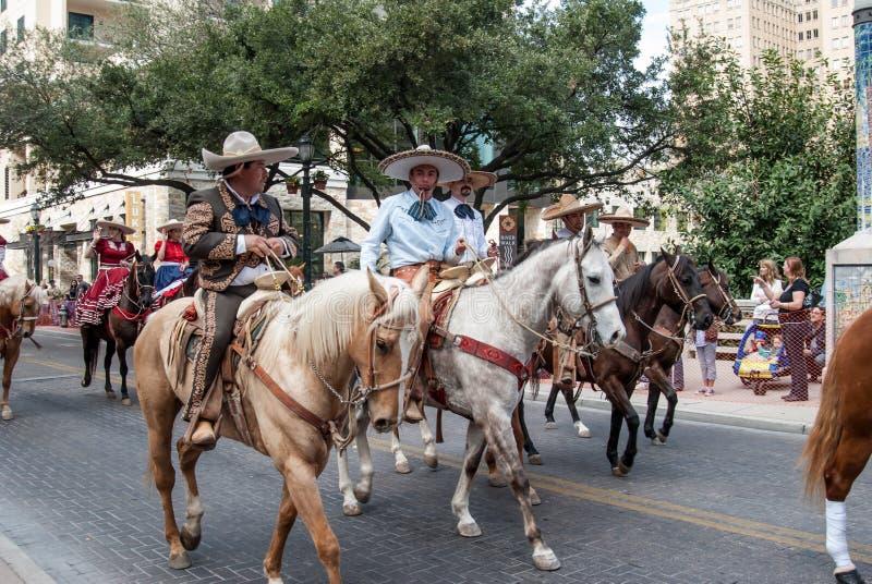 San Antonio rodeo parady jeźdzowie fotografia royalty free
