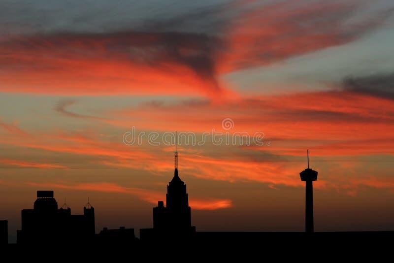 San Antonio skyline at sunset vector illustration