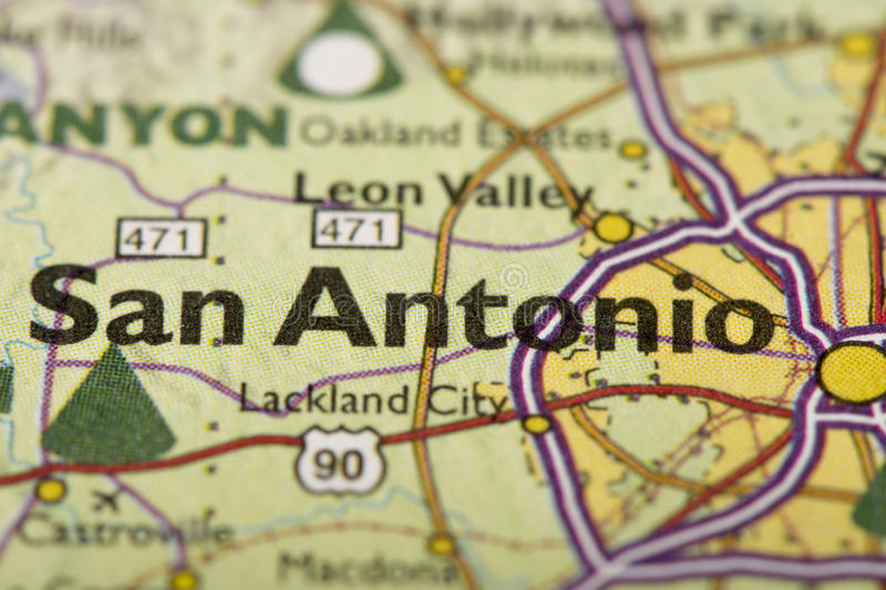 San Antonio sur la carte photos libres de droits