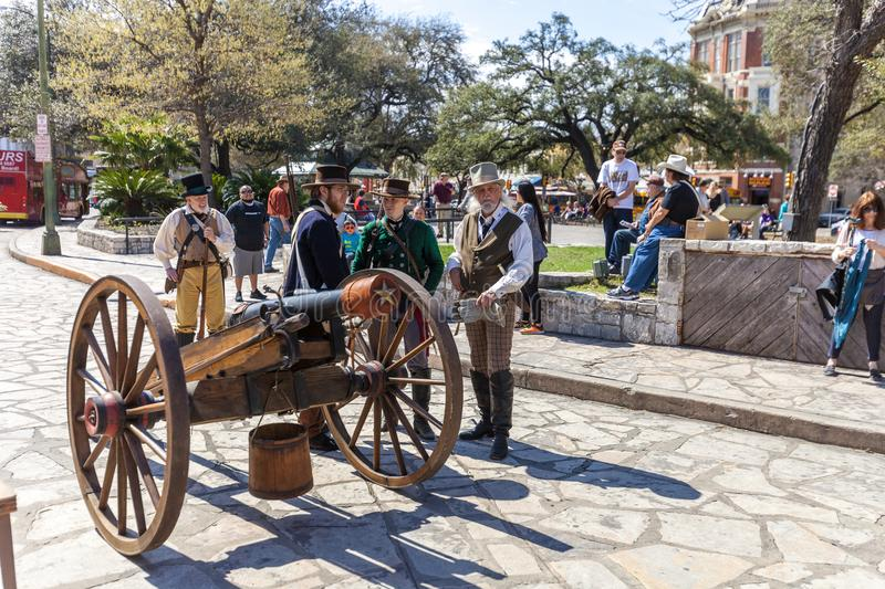 SAN ANTONIO, TEXAS - MARCH 2, 2018 - Men dressed as 19th century soldiers participate in the reenactment of the Battle of the Alam. O, which took place between stock photo