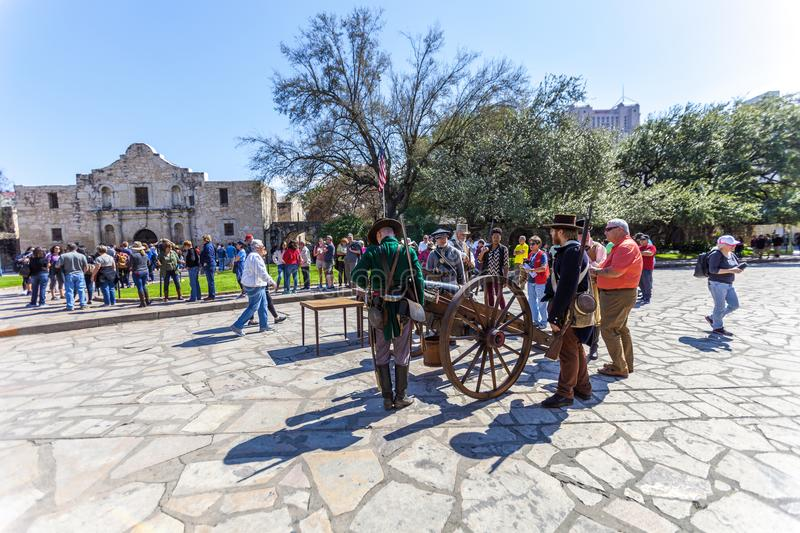 SAN ANTONIO, TEXAS - MARCH 2, 2018 - People gathered to participate in the 182nd commemoration of the Siege and Battle of the Alam royalty free stock photos