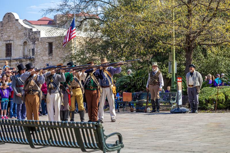 SAN ANTONIO, TEXAS - MARCH 2, 2018 - People participate in the reenactment of the Battle of the Alamo, which took place between Fe. Bruary 23 and March 6, 1836 stock photo