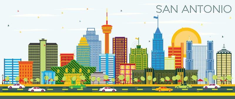 San Antonio Texas Skyline met Kleurengebouwen en Blauwe Hemel stock illustratie