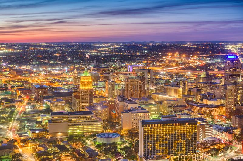 San Antonio, Texas, USA Downtown Aerial Skyline. San Antonio, Texas, USA downtown aerial city skyline at dusk royalty free stock photography