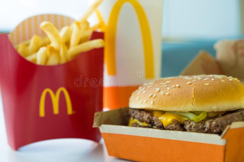 SAN ANTONIO, TX, USA - NOVEMBER 2, 2018 - Selective focus on McDonald`s Double Quarter Pounder burger with cheese, french fries p stock photos