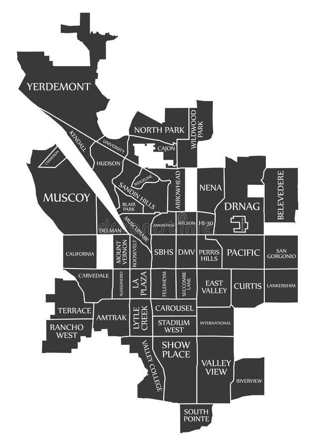 San Bernardino California City Map EUA etiquetou a ilustração preta ilustração do vetor