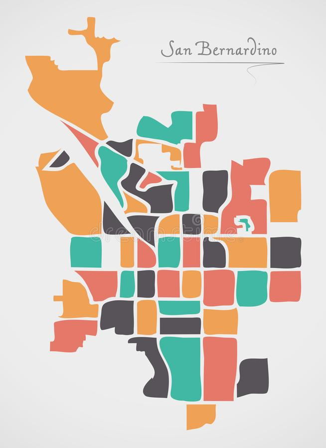 San Bernardino California Map with neighborhoods and modern round shapes. Illustration vector illustration