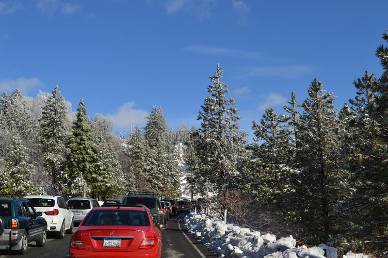San Bernardino Mountain Traffic to Big Bear. Stalled traffic to Big Bear in California stock photos