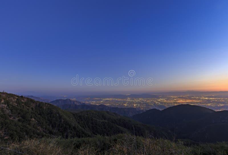 San Bernardino at sunset time. Sight seeing over San Bernardino at sunset time stock image