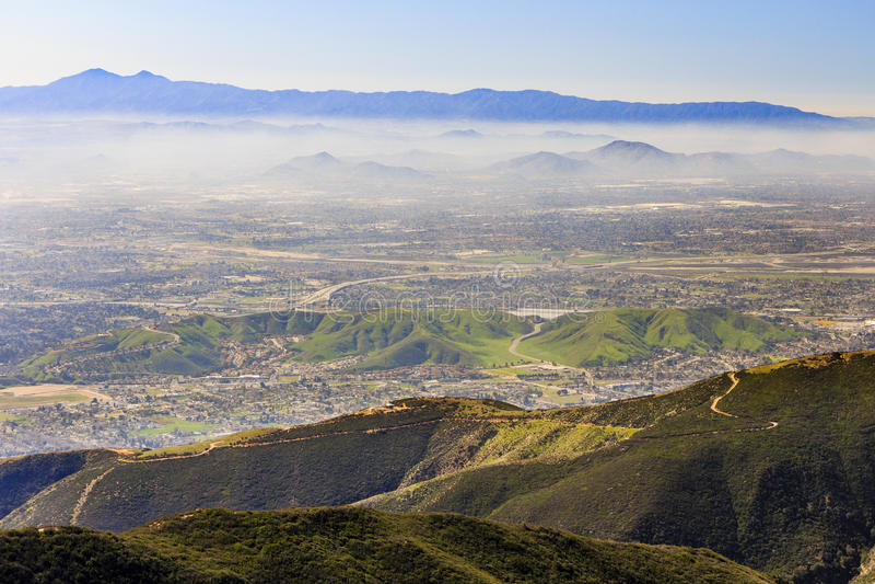 San Bernardino at sunset time. Sight seeing over San Bernardino at afternoon time stock image