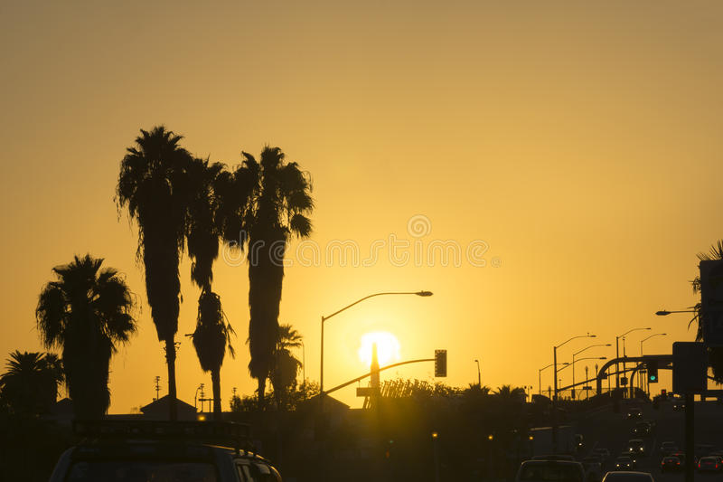 San Bernardo sunset, gently swaying palm trees silhouette back-lit by golden sky. Rush hour traffic in lower frame royalty free stock images