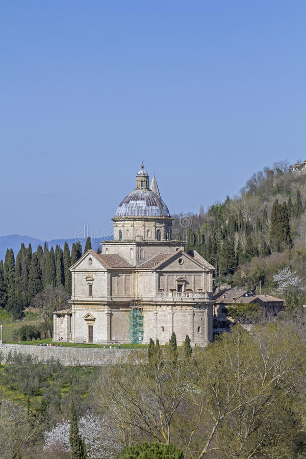 San Biagio bei Montepulciano. Madonna di San Biagio at Montepulciano is one of the most impressive central buildings of the Tuscan Renaissance stock images