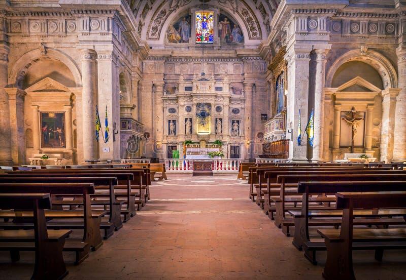 San Biagio church in Montepulciano, Italy. Interior of Madonna di San Biagio church in Montepulciano, Italy stock photography