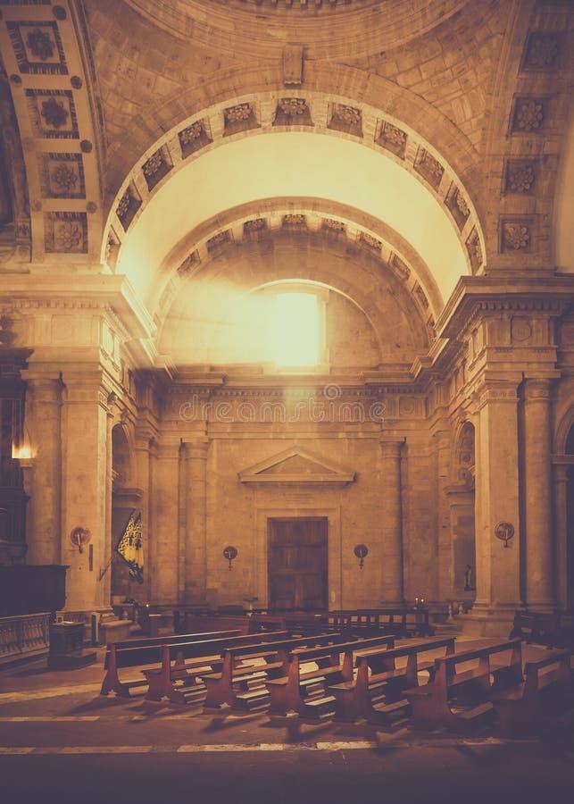 San Biagio church in Montepulciano, Italy. Interior of Madonna di San Biagio church with amazing ray of light in Montepulciano, Italy stock photos