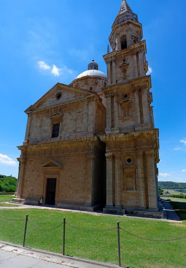 San Biagio Church, Montepulciano, Tuscany, Italy. San Biagio Church in the sun and under the blue sky of Montepulciano, Tuscany, Toscana, Italy, Italia stock image