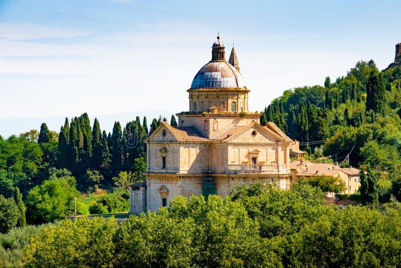 San Biagio church outside Montepulciano, Tuscany, Italy. San Biagio is a Renaissance Greek cross central plan church outside Montepulciano, Tuscany, Italy stock image