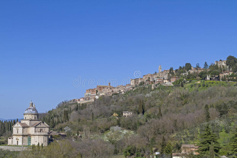 San Biagio and Montepulciano. Madonna di San Biagio near Montepulciano is one of the most impressive central buildings of the Tuscan Renaissance stock photo