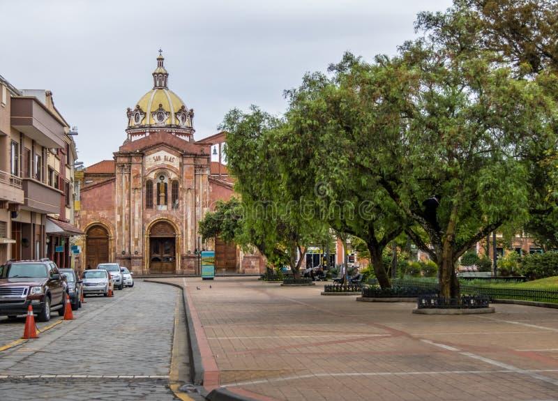 San Blas kościół i park - Cuenca, Ekwador obrazy stock