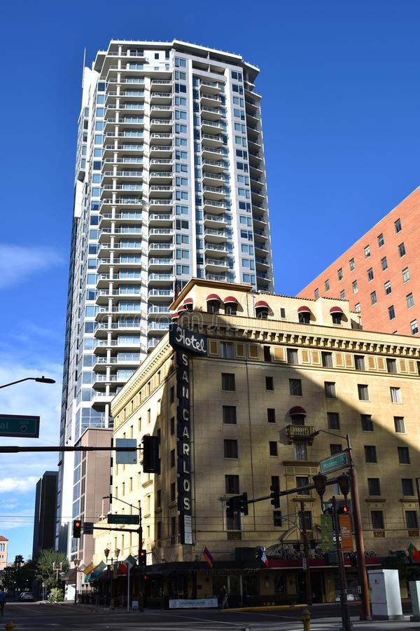 The San Carlos Hotel in Phoenix Arizona. The San Carlos Hotel in downtown Phoenix Arizona. Built in 1928, it was state of the art and the first building in the royalty free stock photography